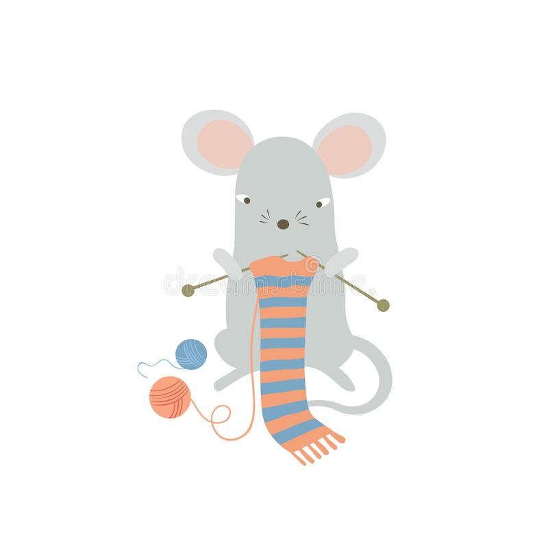 Ratón corto tejiendo una bufanda Graciosa rata de caricaturas disfrutando de la actividad de ocio en casa Símbolo humanizado del  libre illustration