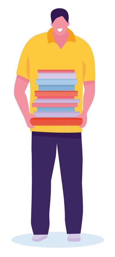 Ratón de biblioteca feliz Estudiante masculino hermoso que sostiene los libros de texto y sonrisa aislada en el fondo blanco Ejem libre illustration