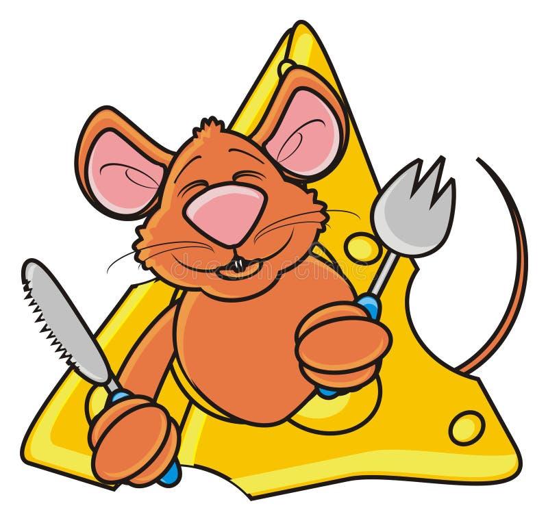 Ratón de Brown que mira a escondidas de un pedazo de queso ilustración del vector