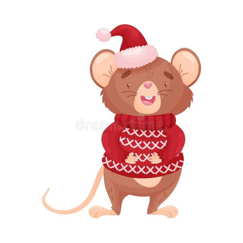 Ratón de la historieta en un suéter rojo Ilustraci?n del vector ilustración del vector