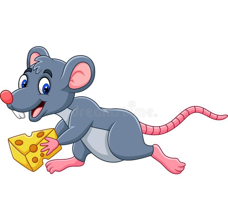 Ratón de la historieta que corre con la rebanada de queso ilustración del vector