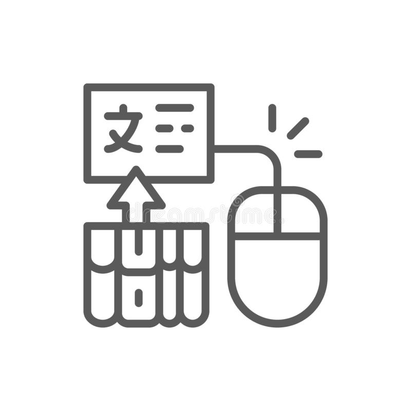 Rat?n del ordenador con las p?ginas para la traducci?n, educaci?n en l?nea, eBook, l?nea icono de la biblioteca de la web ilustración del vector