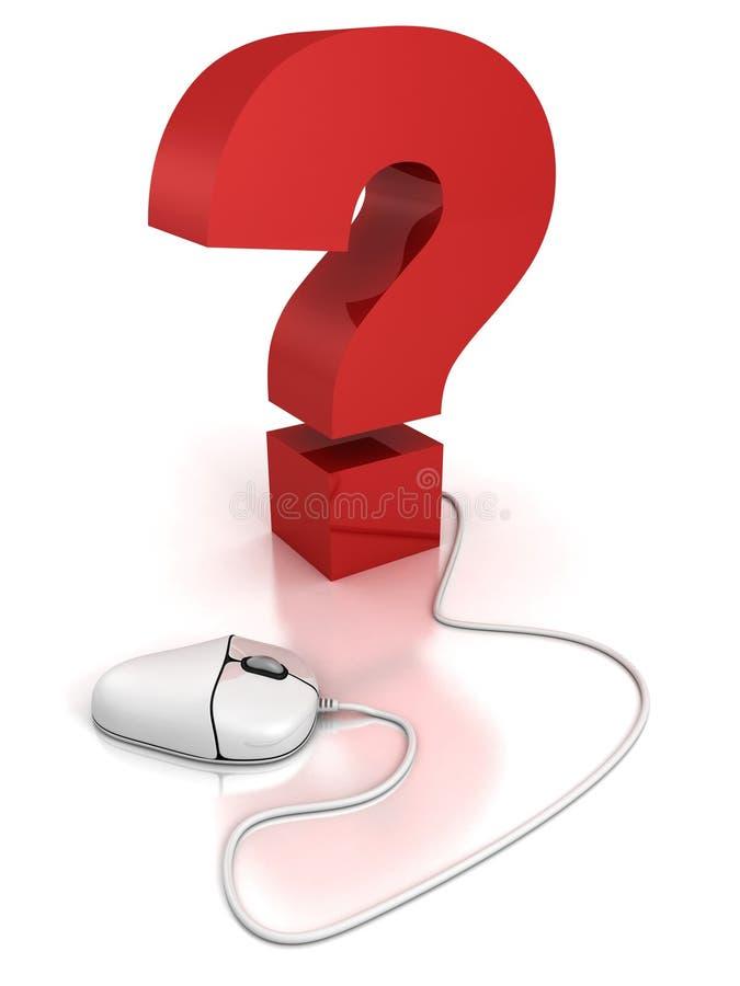 Ratón del ordenador conectado con un signo de interrogación. Concepto del FAQ libre illustration