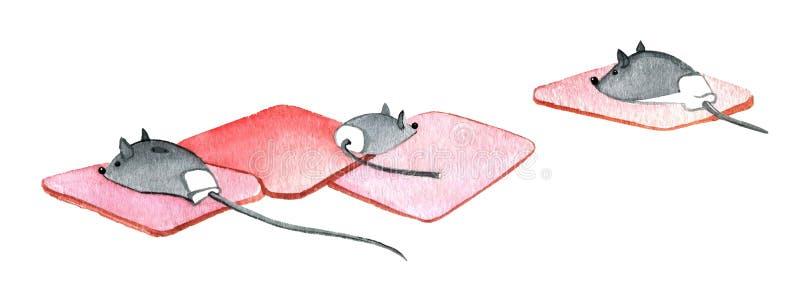 Ratón del ordenador, ratón de 3 ordenadores en una estera de goma ilustración del vector