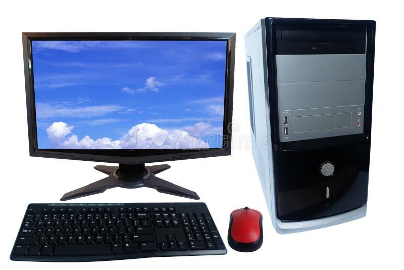 Ratón del sistema, del monitor, del teclado y de la radio de la PC del equipo de escritorio aislado en blanco fotografía de archivo libre de regalías