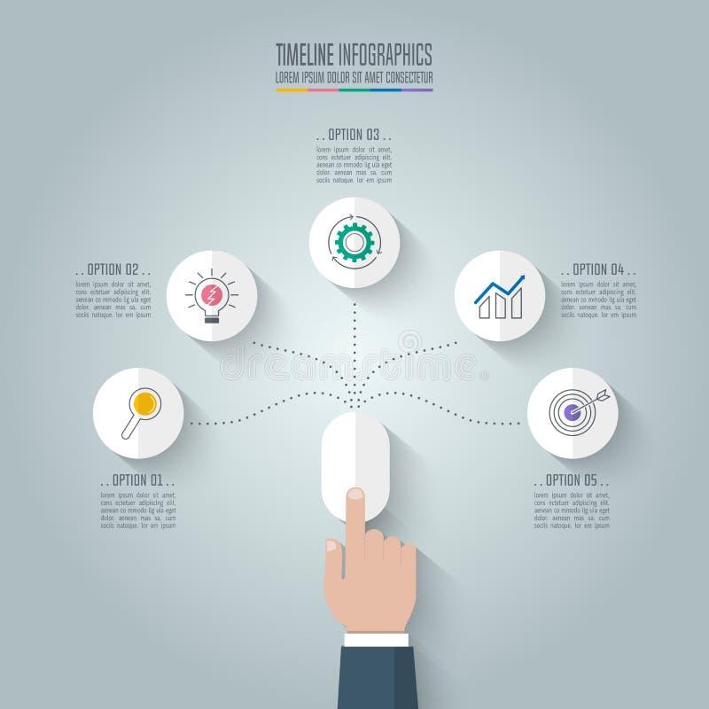 Ratón del tecleo de la mano del negocio con opciones infographic de la cronología 5 stock de ilustración