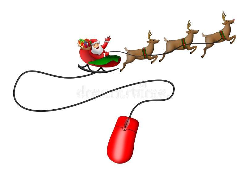 Ratón del trineo de Papá Noel stock de ilustración