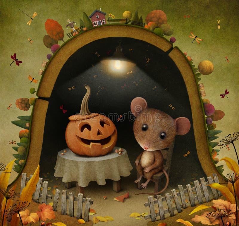 Ratón en agujero libre illustration