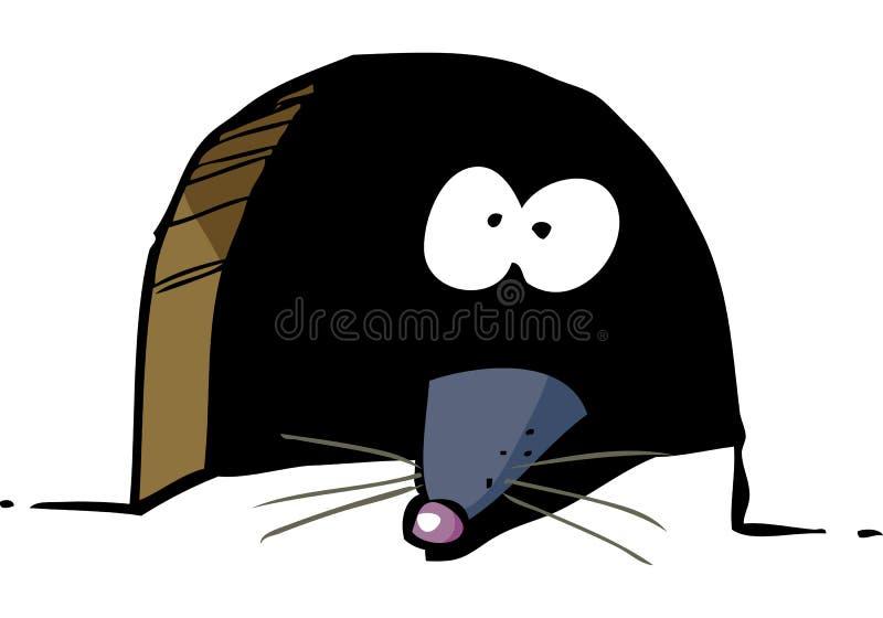 Ratón en agujero ilustración del vector