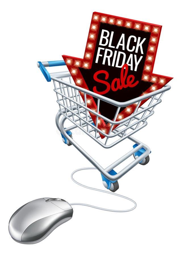 Ratón en línea del ordenador de la carretilla de la venta de Black Friday libre illustration