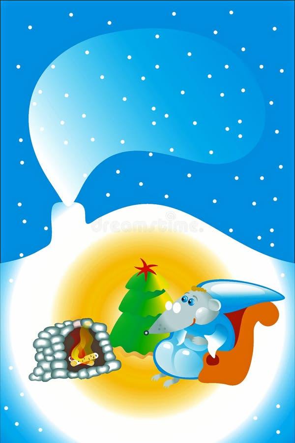 Ratón gris que se sienta en la chimenea en la Navidad imagenes de archivo