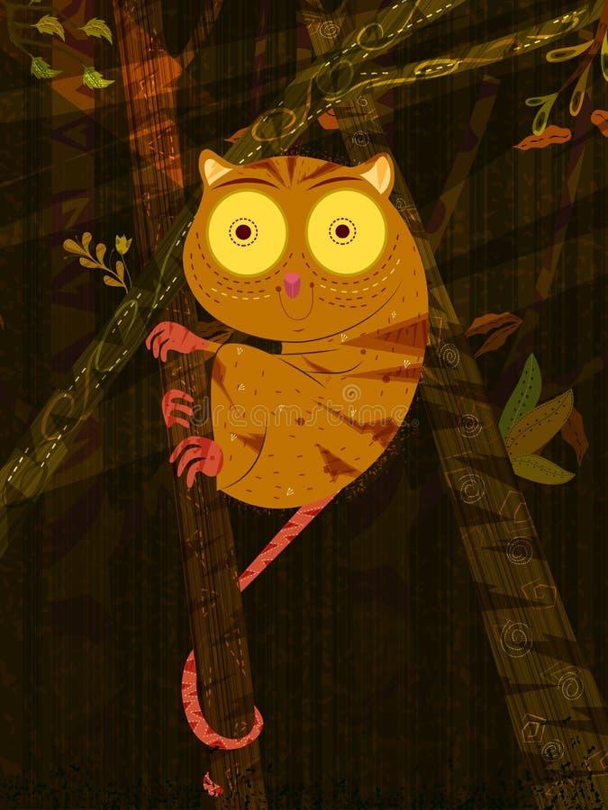 Ratón Lemure del animal salvaje en fondo del bosque de la selva libre illustration