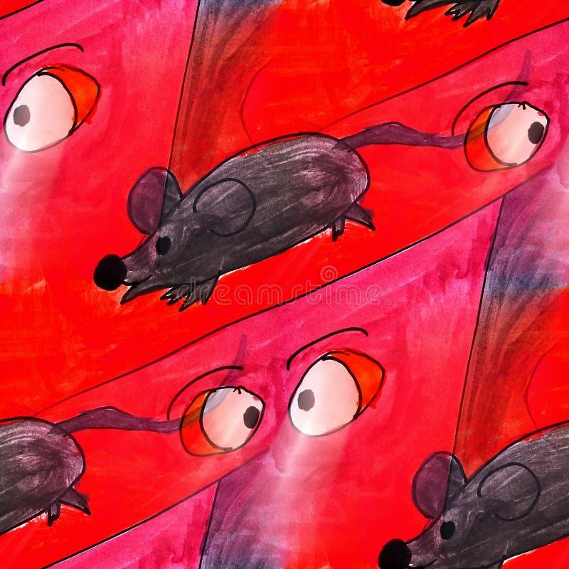 Ratón ligero inconsútil, animal, rojo, negro, arte de la acuarela de la historieta stock de ilustración