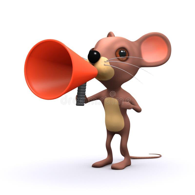 ratón lindo 3d con un megáfono libre illustration