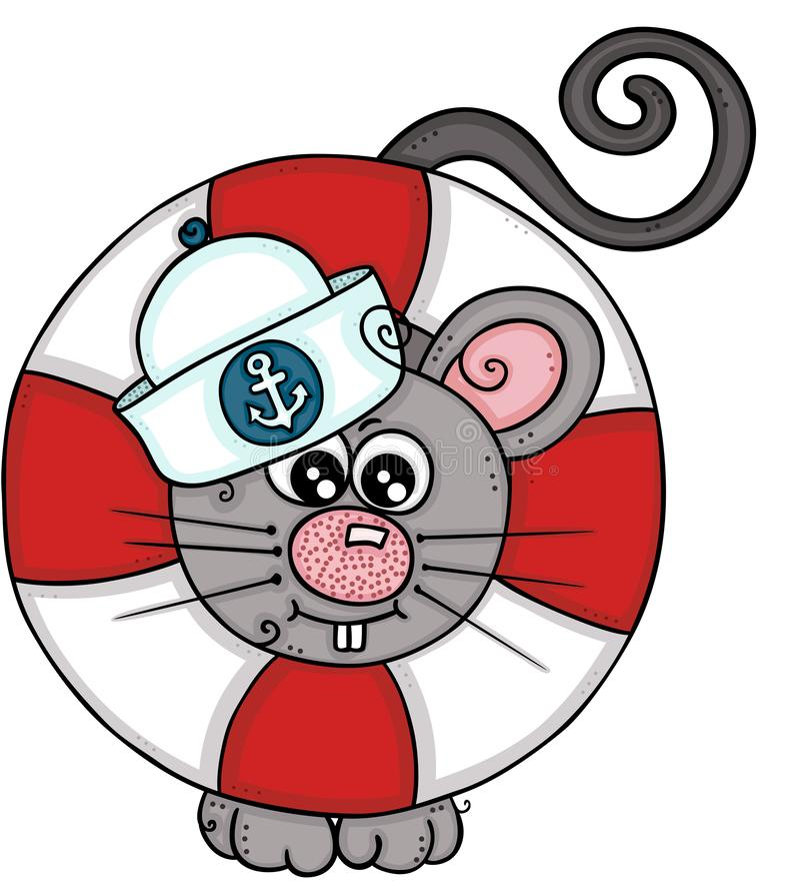 Ratón lindo del marinero con ayuda ahorrar el flotador de la vida ilustración del vector