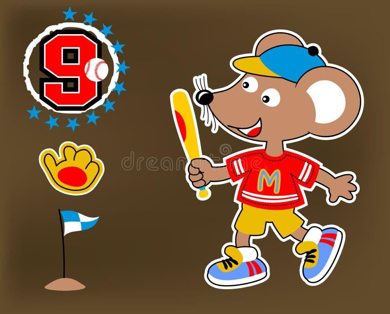 Ratón lindo el jugador de béisbol libre illustration