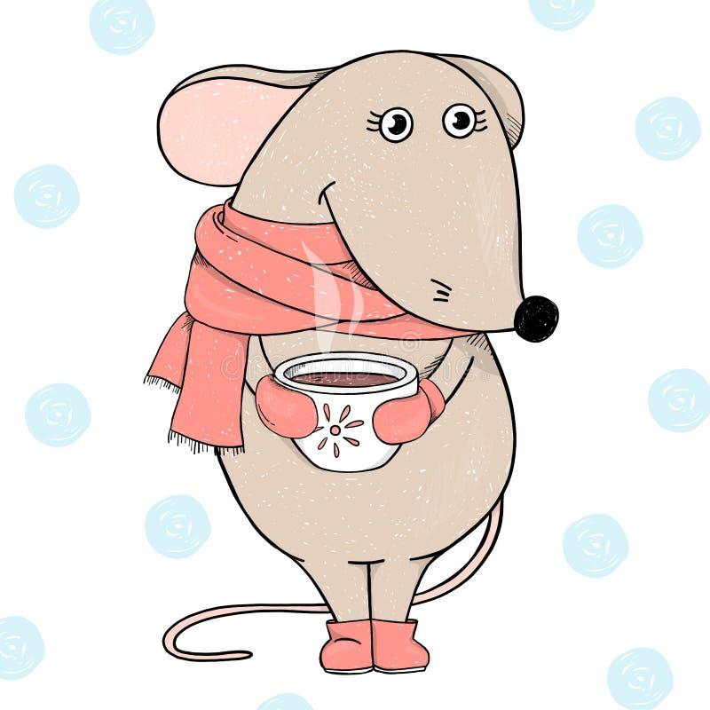Ratón lindo en una bufanda roja que sostiene una taza de té o café y sonrisa calientes Postal por A?o Nuevo y la Navidad ilustración del vector