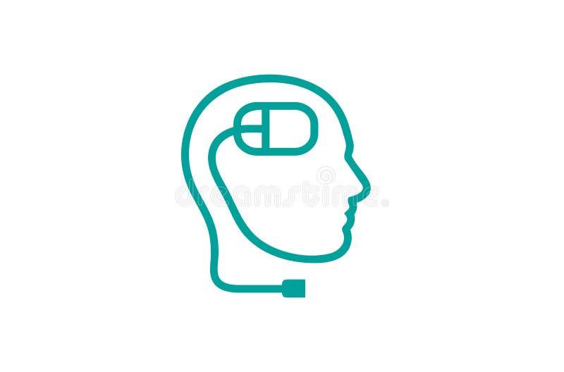 Ratón principal humano Logo Design Vector Symbol Illustration del ordenador del extracto creativo stock de ilustración