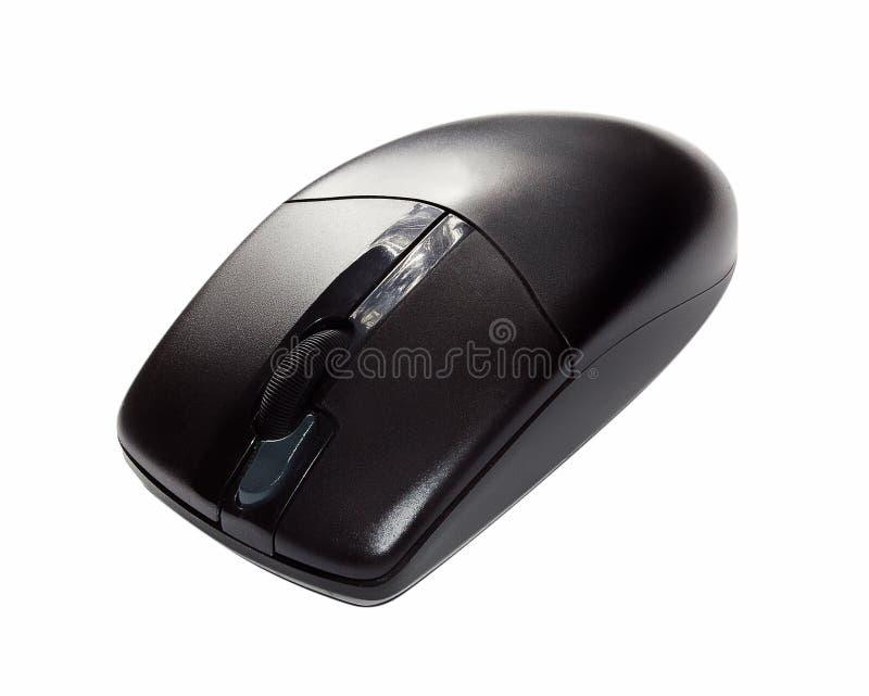 Ratón sin hilos negro del ordenador aislado en blanco foto de archivo