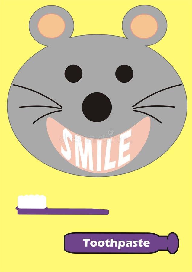 Ratón sonriente con un cepillo de dientes y una crema dental imagen de archivo libre de regalías