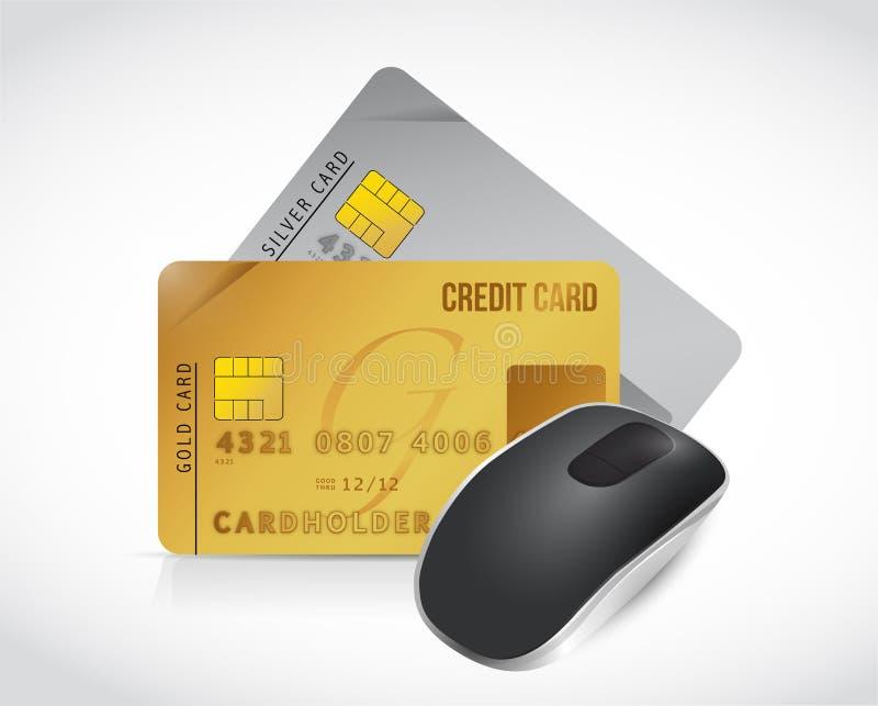 Ratón y diseño del ejemplo de las tarjetas de crédito stock de ilustración