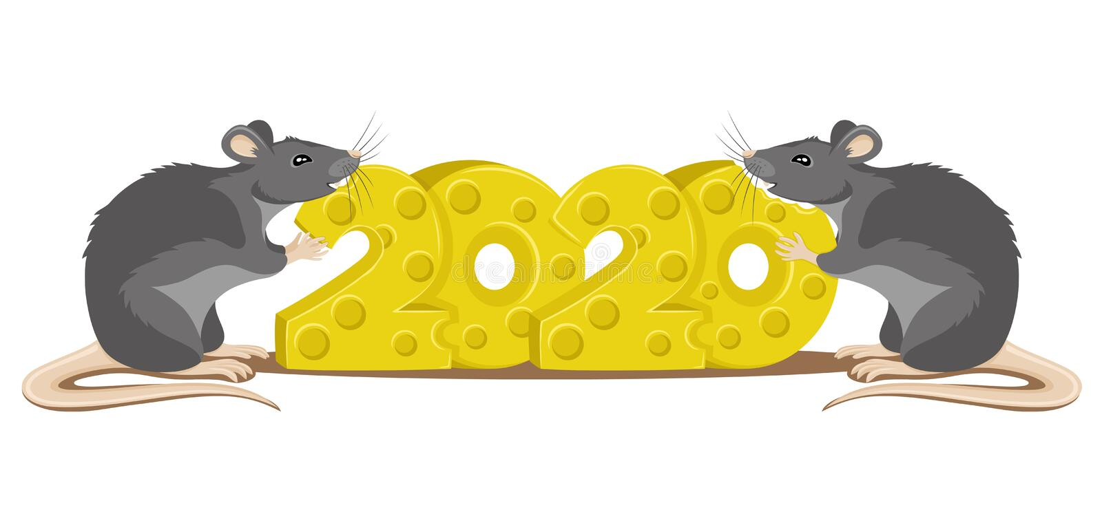 Rat the symbol of the new year 2020. stock illustration