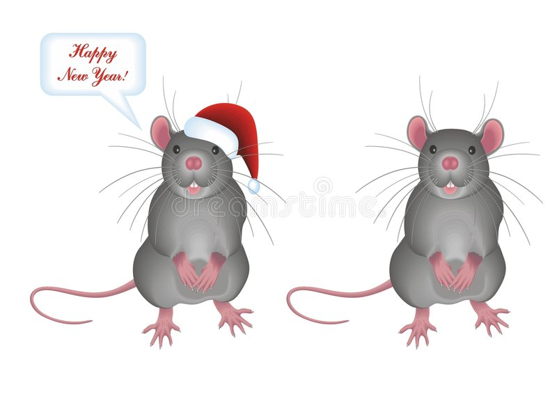 Download Rat stock vector. Image of vector, gray, tail, 2008, christmas - 3824114