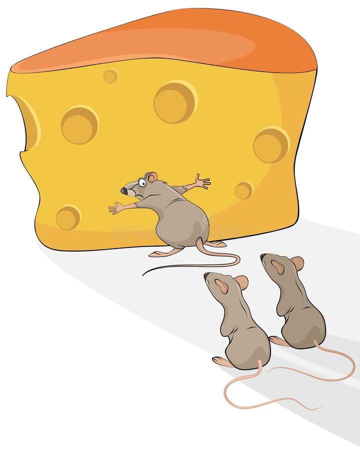 Rat avec du fromage illustration de vecteur