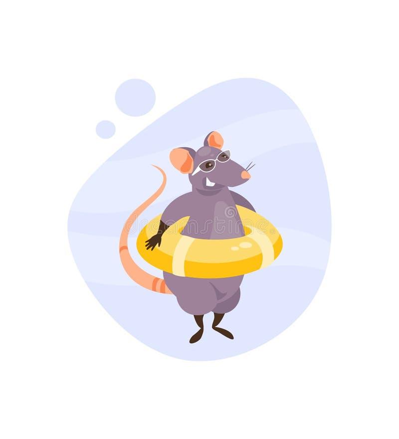 Rat avec le vecteur de ligne de sauvetage illustration stock