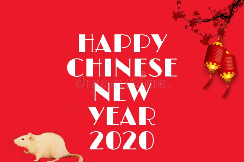 Rat background of happy chinese new year 2020 royalty free stock photo