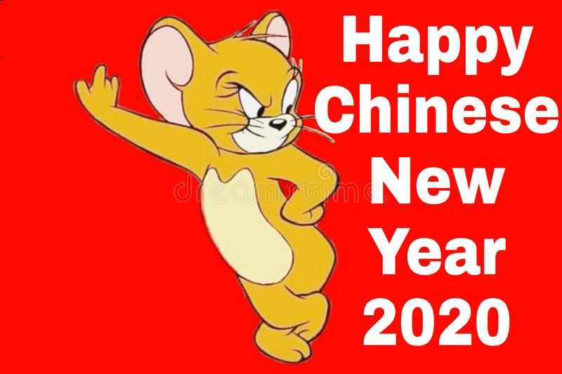 Rat background of happy chinese new year 2020 stock photo