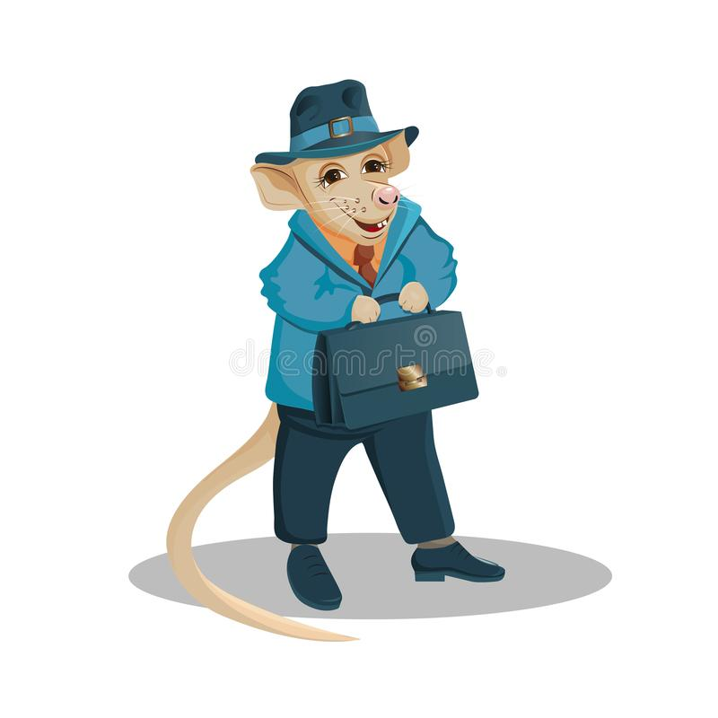 Rat in business suit with a briefcase in the legs royalty free illustration