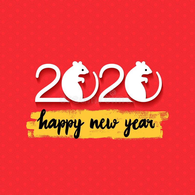 Rat Chinese year symbol. Happy new year. 2020 Mouse Chinese new year symbol. Vector illustration. Isolated on red background stock photo