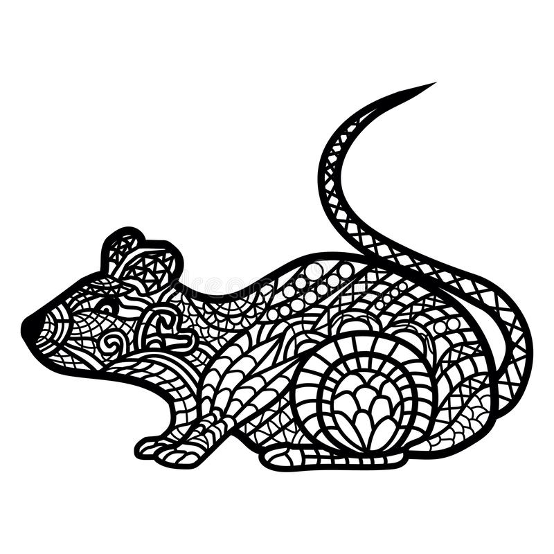 Rat close up. Rat handwritten on the white royalty free illustration