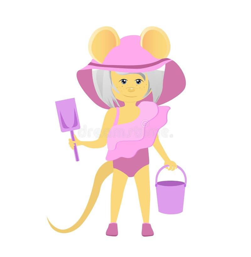 Rat d'isolement de bande dessin?e dans un maillot de bain et un chapeau An du rat horoscope chinois Souris de beaut? illustration libre de droits