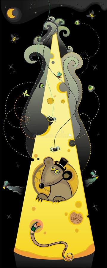 Rat dans un fromage smelly illustration de vecteur