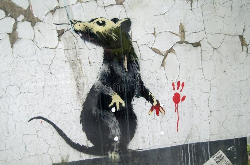 Rat de graffiti de Banksy image libre de droits