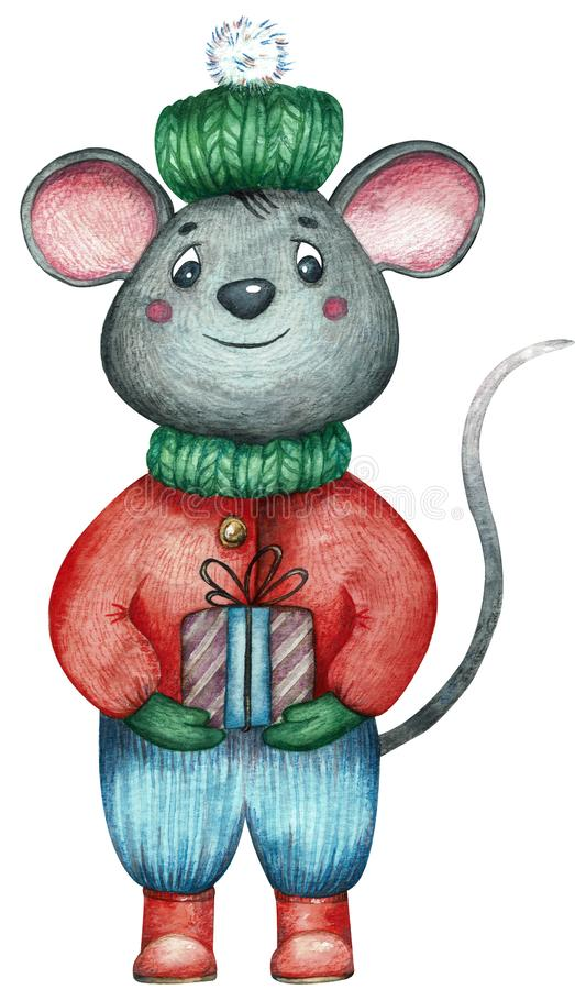 Rat dressed in winter clothes with a gift, symbol of 2020, greeting card with Merry Christmas and Happy New Year vector illustration