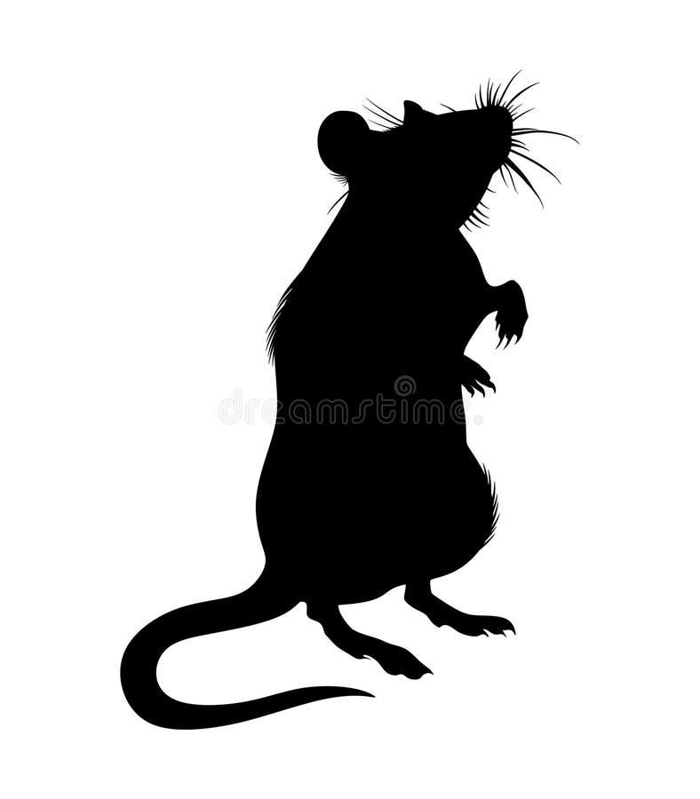 Rat, geïsoleerd monochroom beeld, silhouet stock illustratie