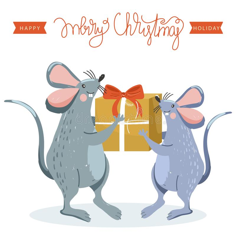 Rat gives a present to another rat. Rat is Chinese symbol 2020 year. royalty free illustration