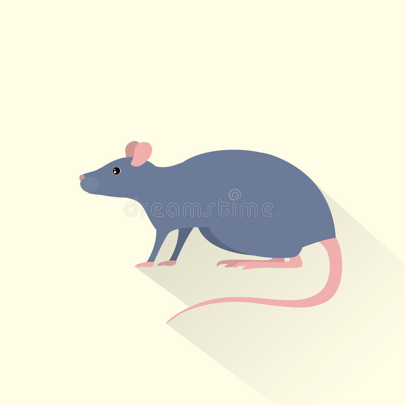 Rat gray mouse icon flat shadow vector. Rat gray mouse icon flat vector illustration vector illustration