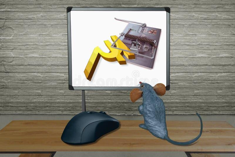 Rat hållande ögonen på datorskärm med musen stock illustrationer
