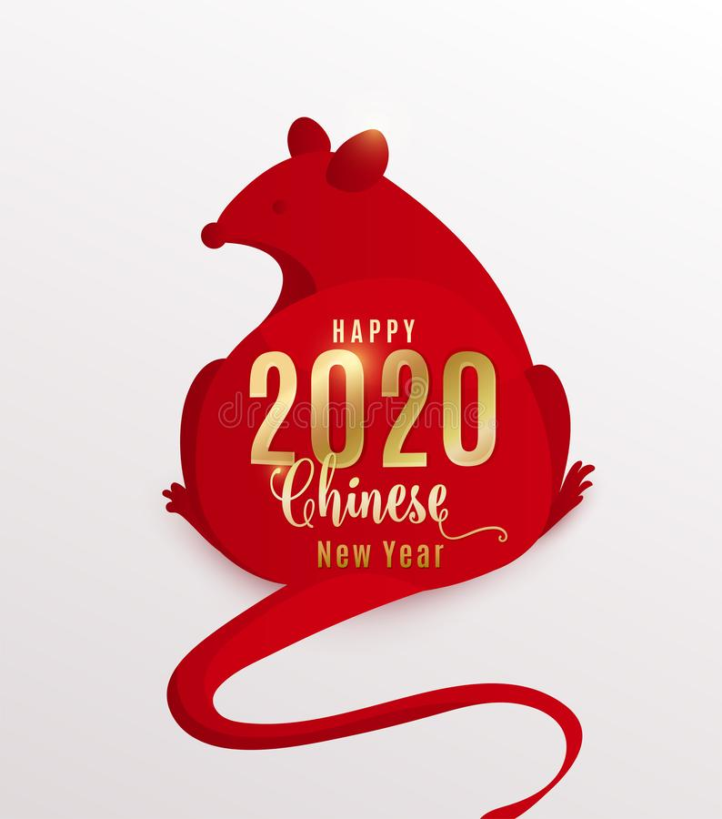 2020 rat happy chinese new year. Red mouse is simple flat style isolated on white background. Vector illustration with vector illustration