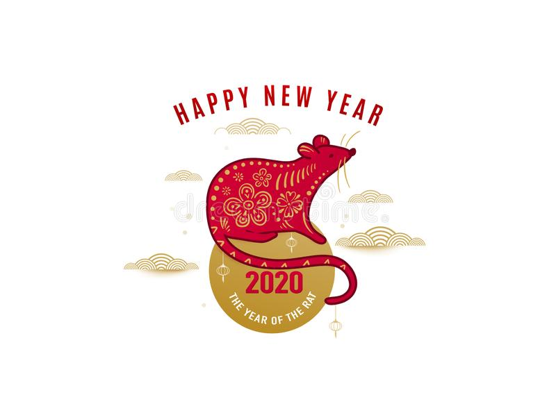 2020 rat happy new year vector background, chinese banner concept. Isolated greeting card with mouse standing on the sun royalty free illustration