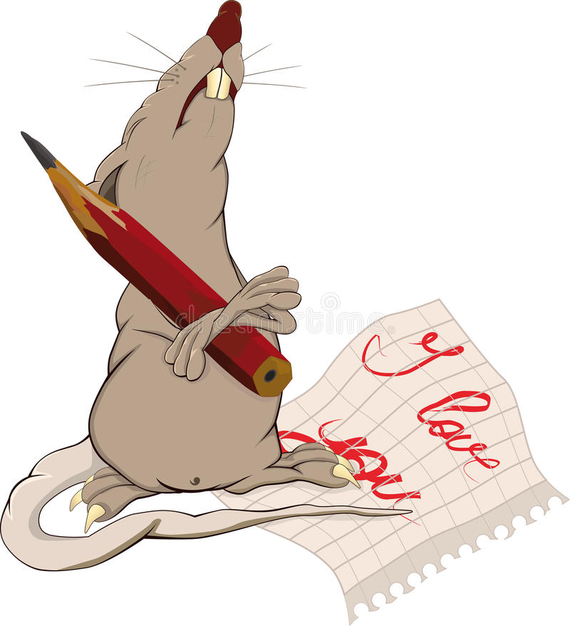Rat, love and a note vector illustration