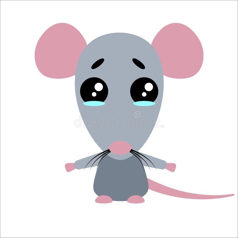 Rat mignon de vecteur Caract?re triste de bande dessin?e Fond blanc Conception plate Vecteur illustration de vecteur