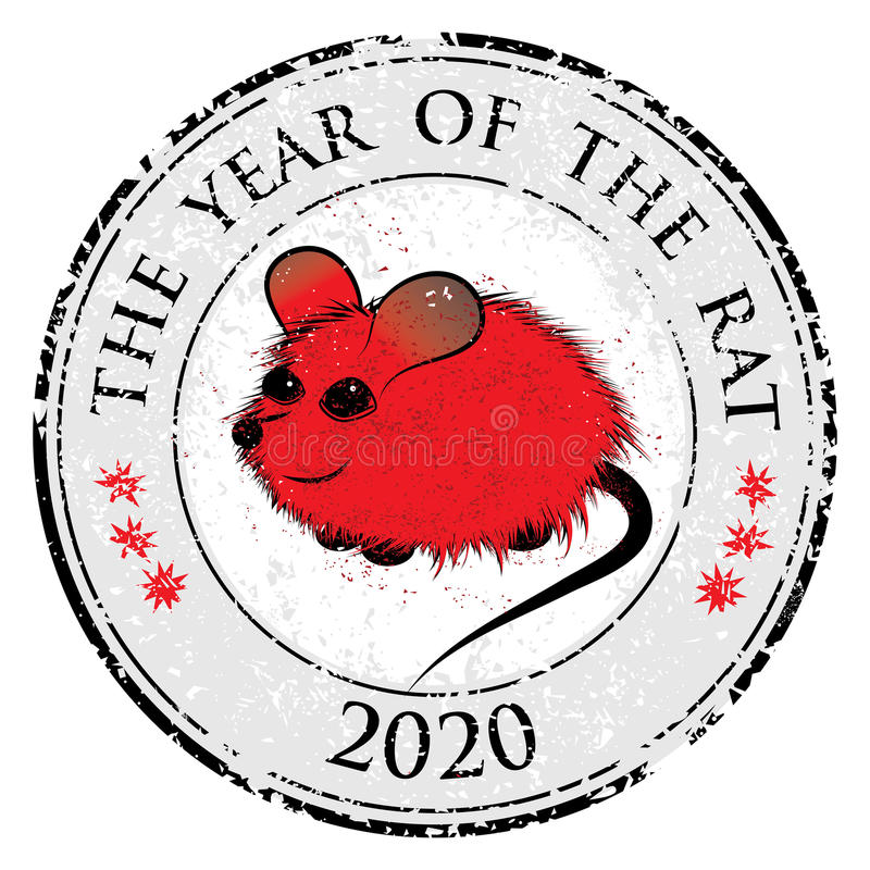 Rat, mouse chinese horoscope animal sign. The vector stamp art image in decorative style stock illustration