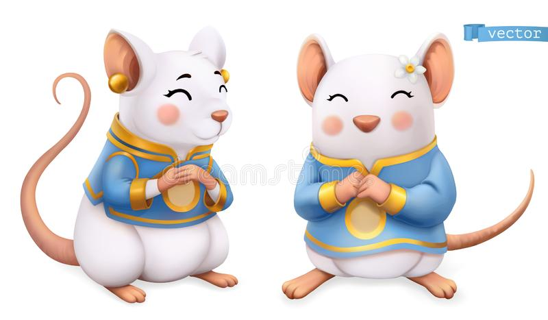 Rat, mouse, Funny animal in the Chinese zodiac, Chinese calendar, 3d vector icon vector illustration
