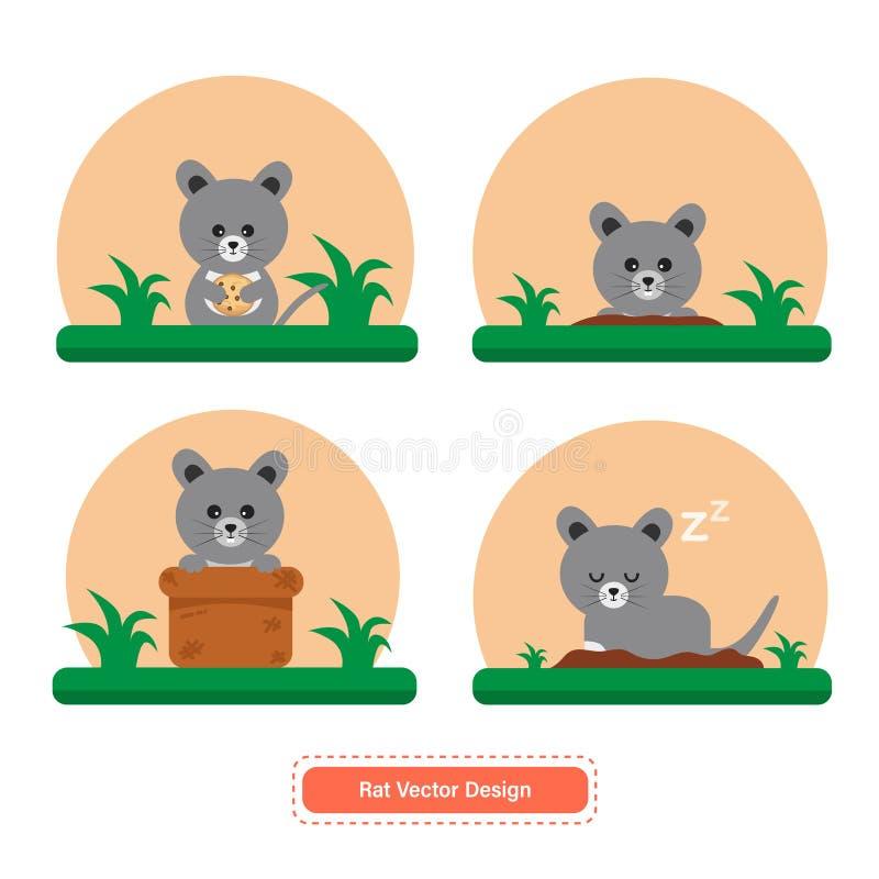 Rat of Muisvector voor pictogrammalplaatjes of presentatieachtergrond royalty-vrije illustratie