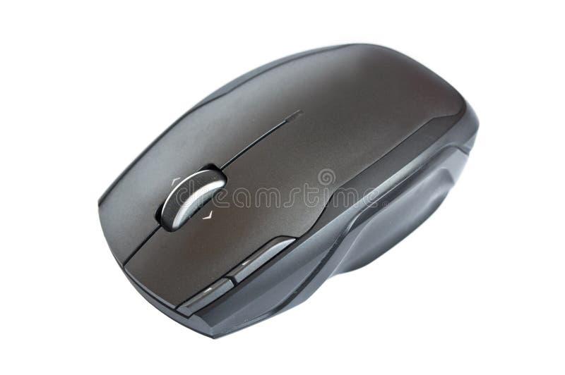 Rat?n negro del ordenador aislado en blanco fotos de archivo